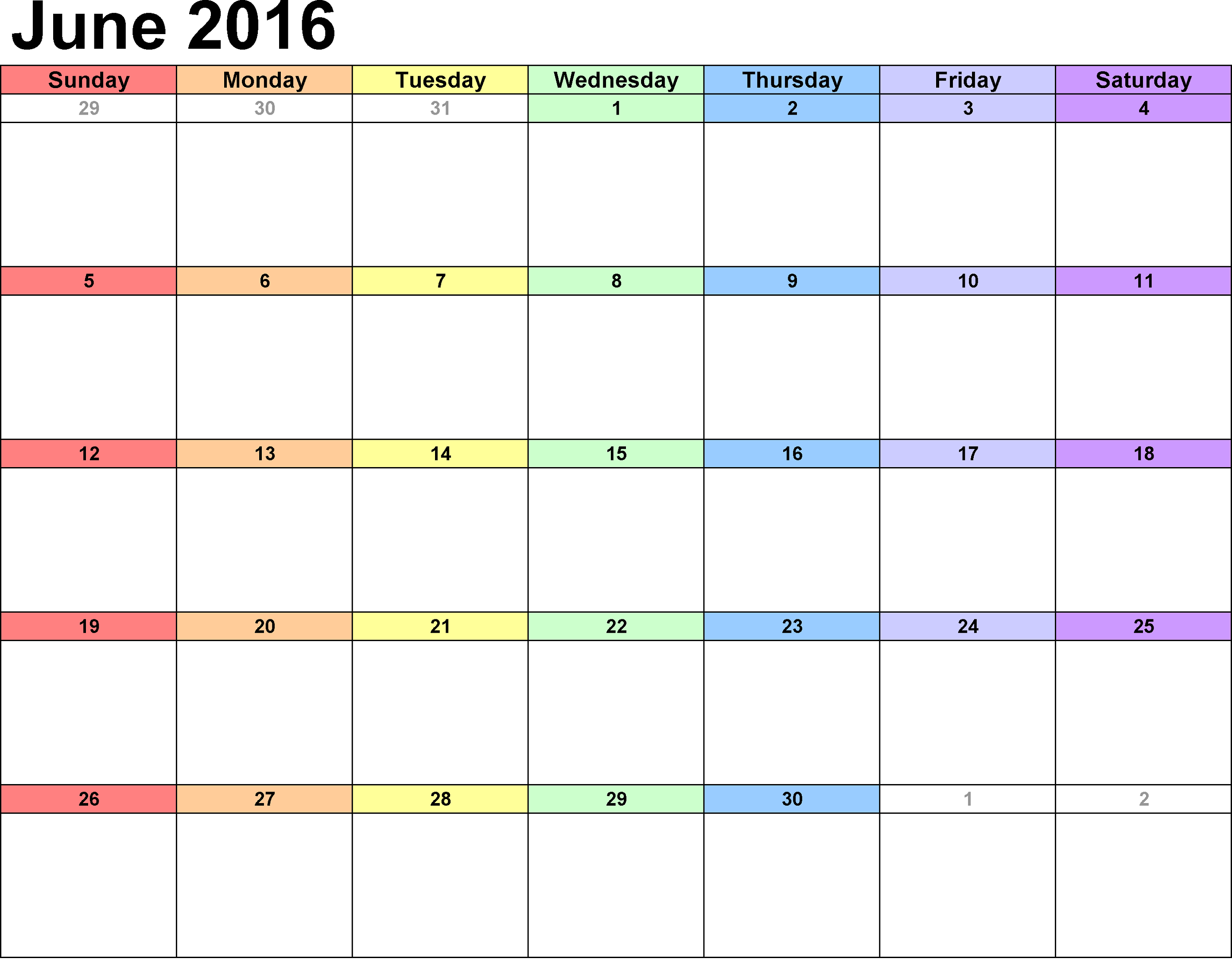 calendar 2016 printable colorful