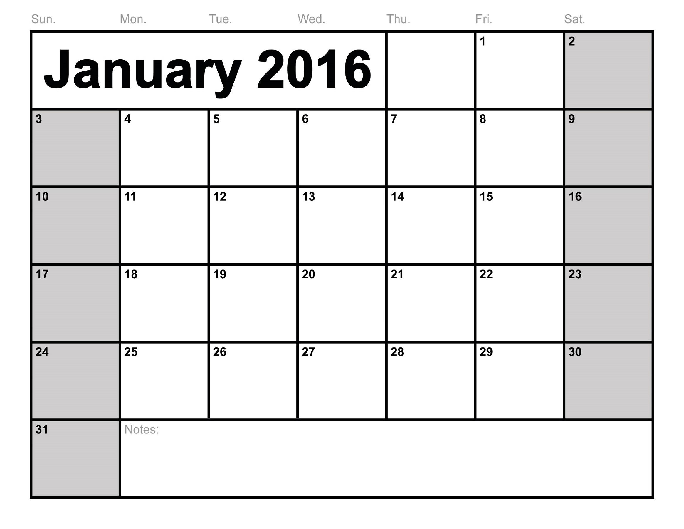 calendar 2016 printable january