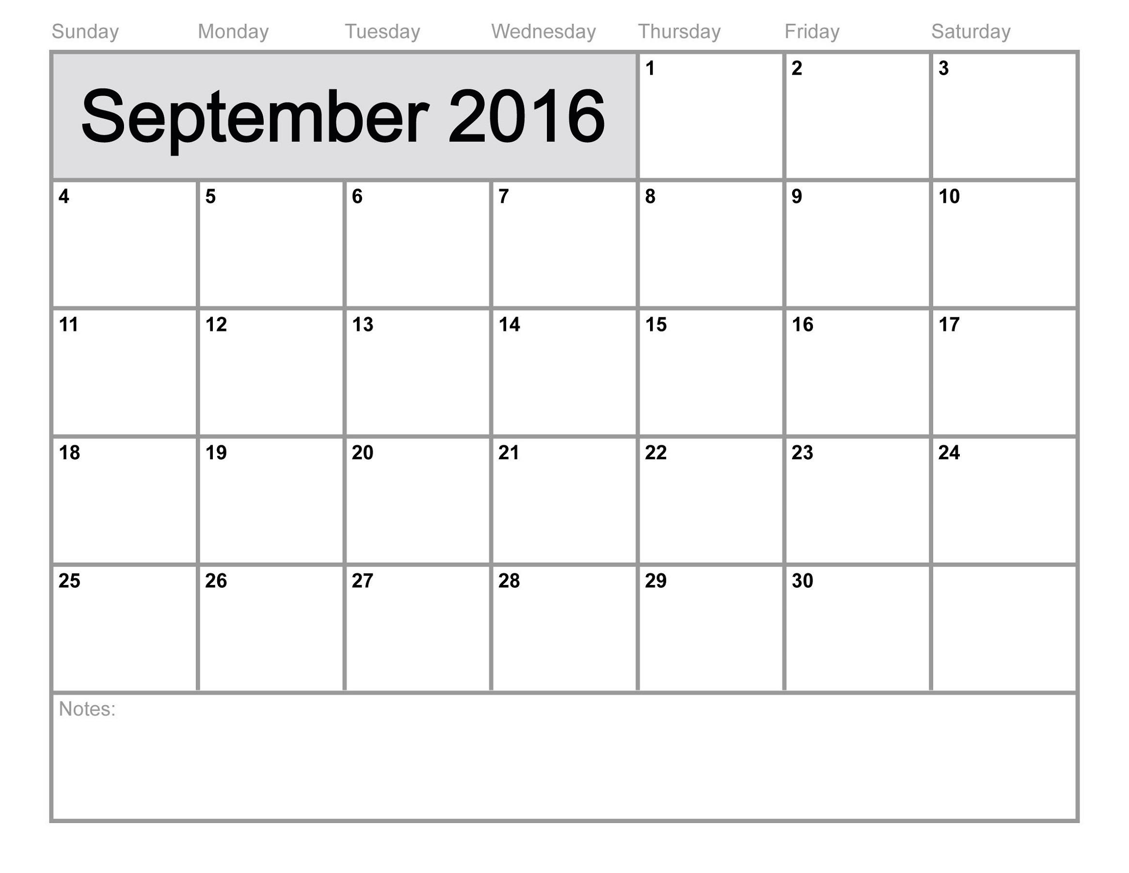 calendar 2016 printable september