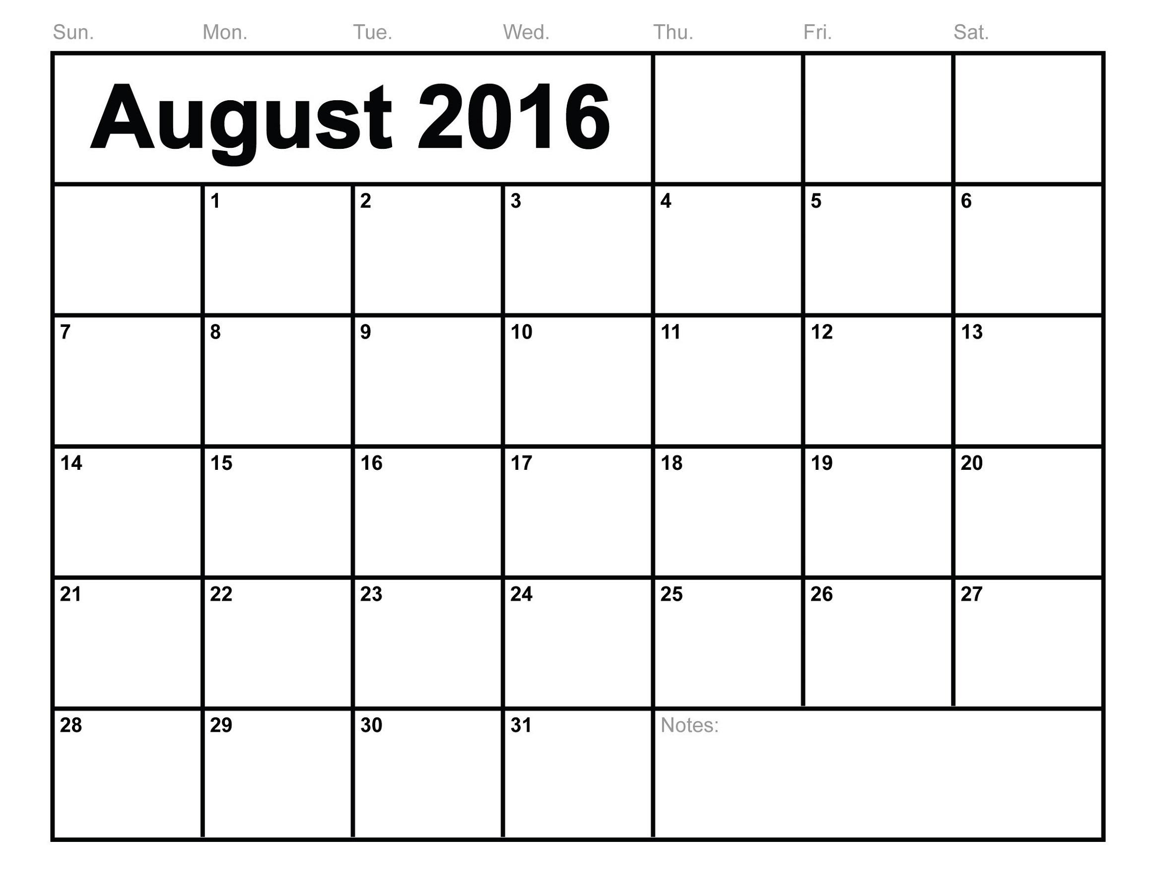 calendar 2016 printable template