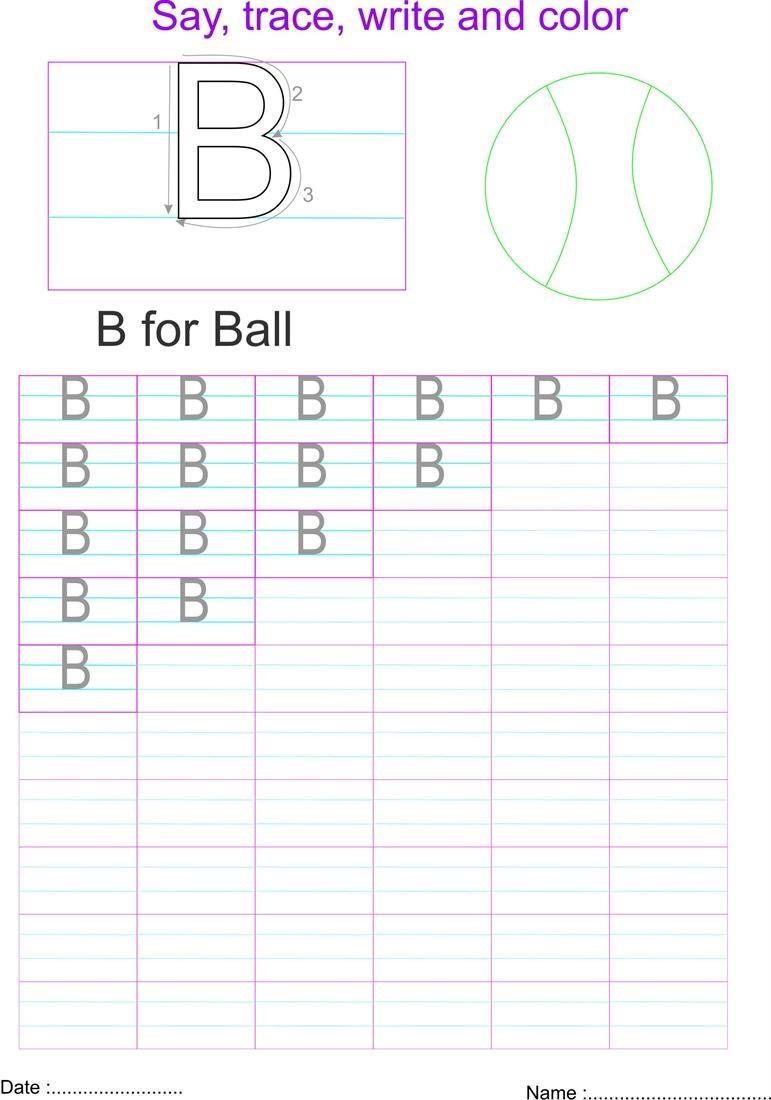 capital letters worksheet letter B