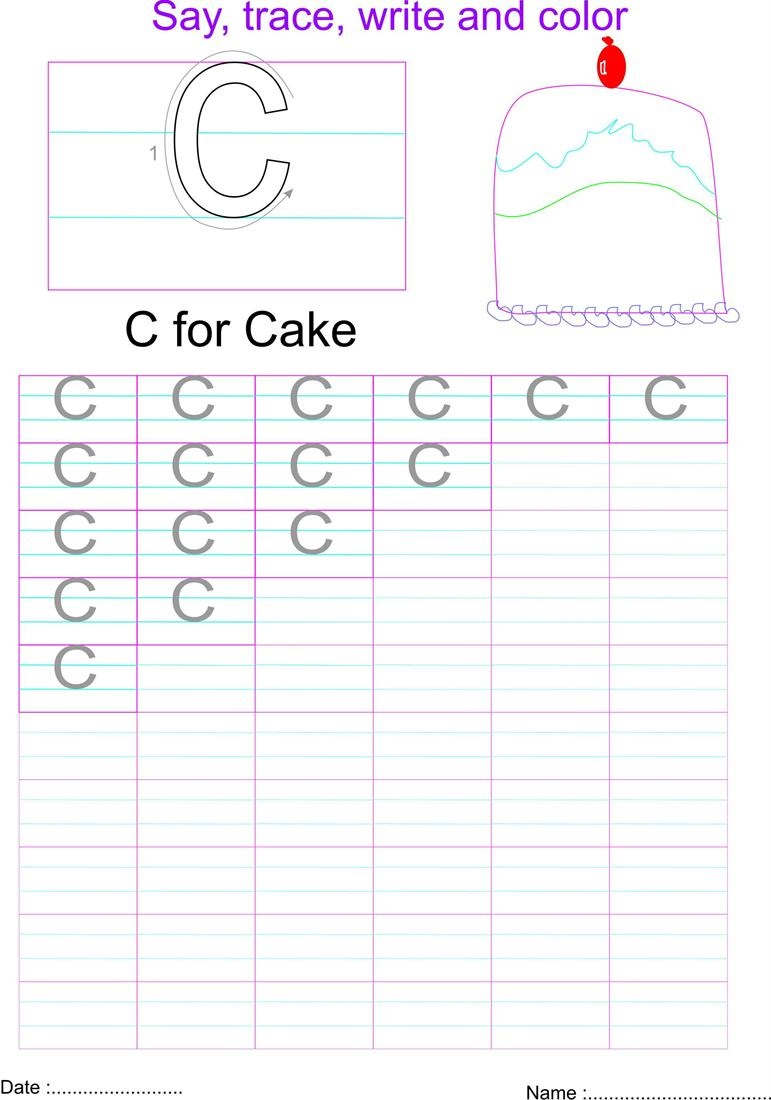 capital letters worksheet letter C