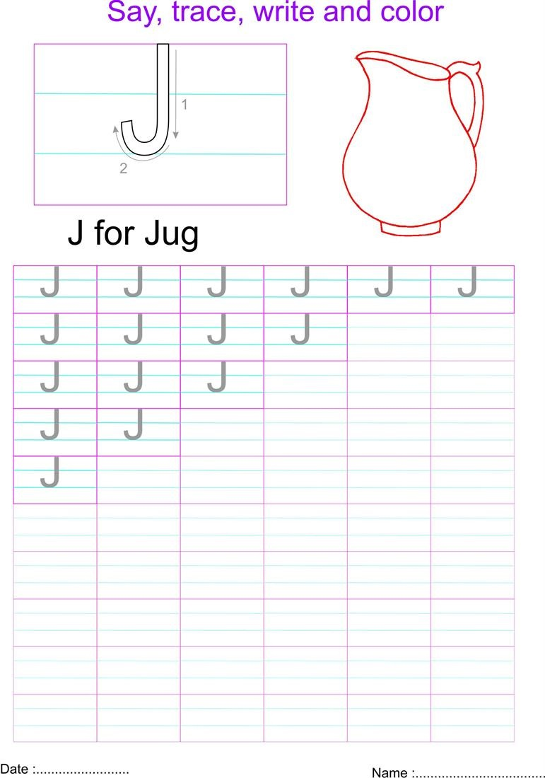 capital letters worksheet letter J