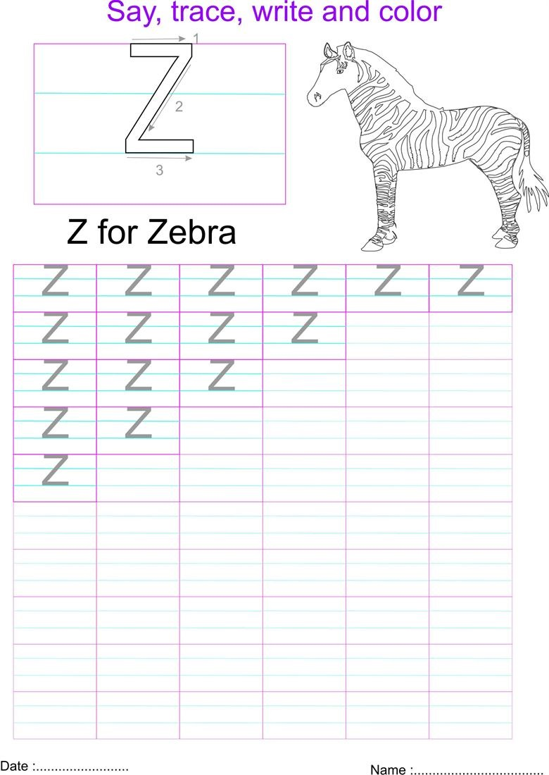 capital letters worksheet letter Z