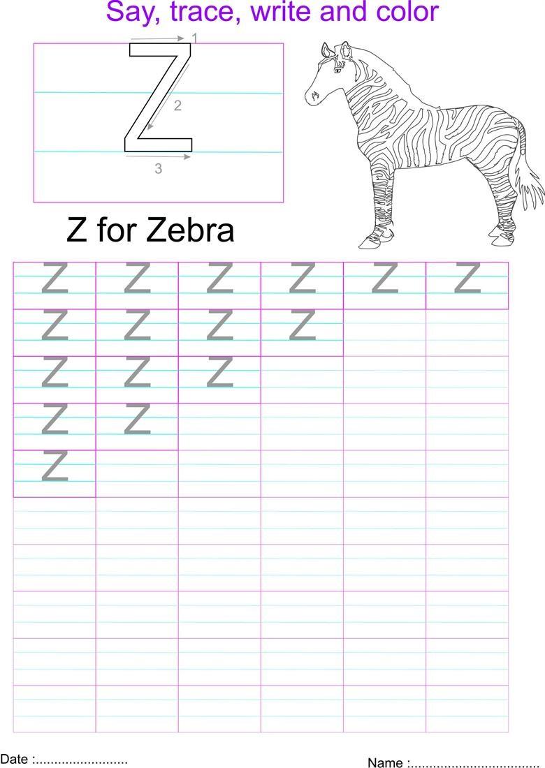 capital letters worksheet letter Z