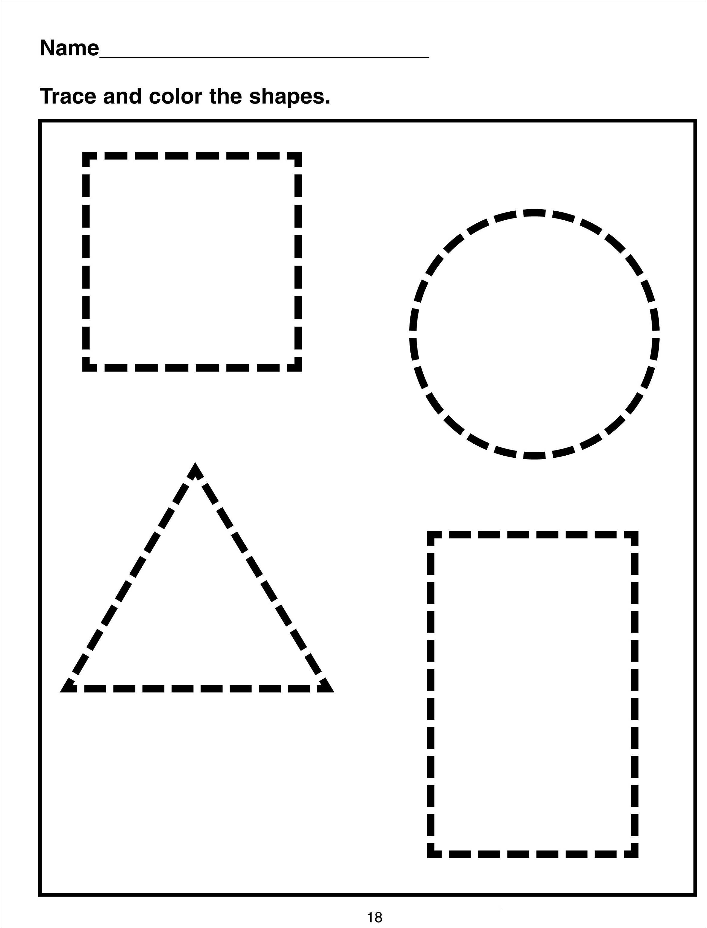 color by shape worksheet with tracing