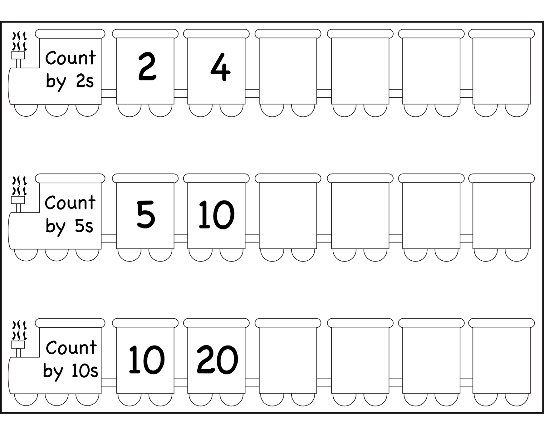 count by 2s worksheet for kids