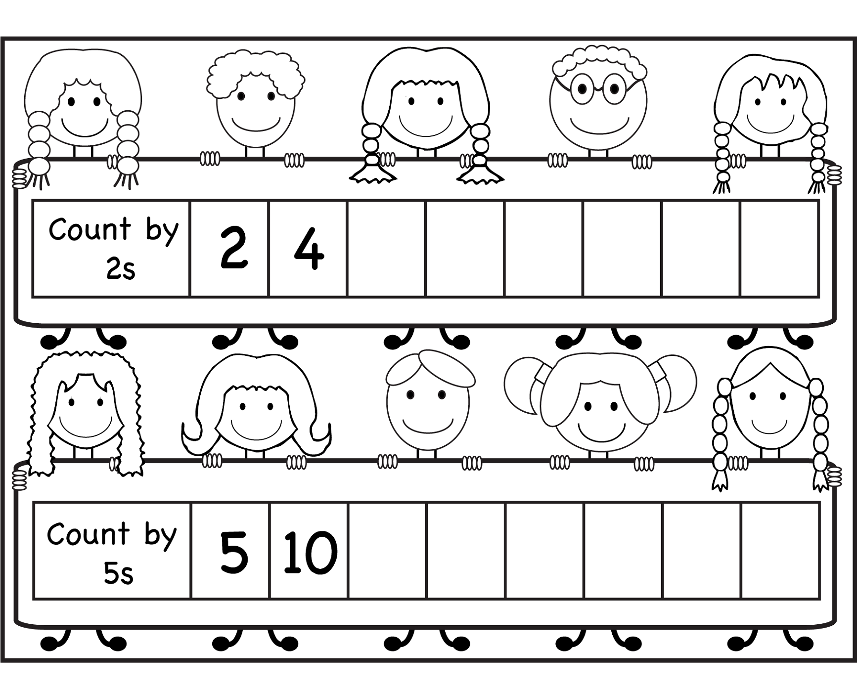 count by 2s worksheet for school