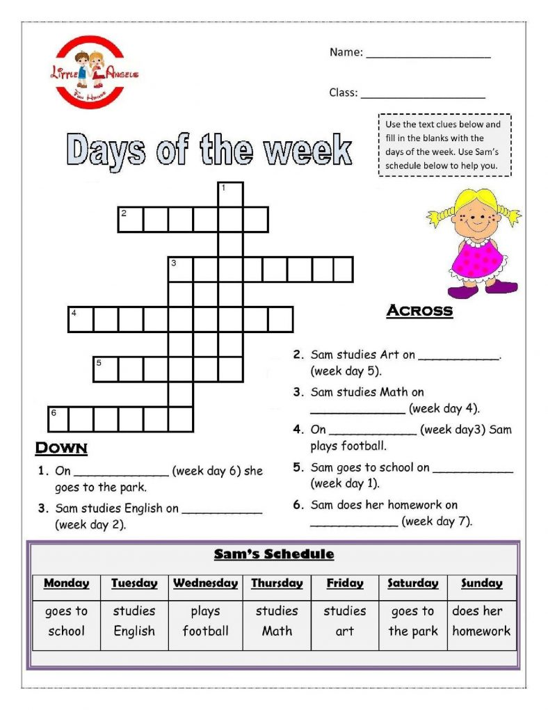 days of the week activities crossword u2013 Activity Shelter