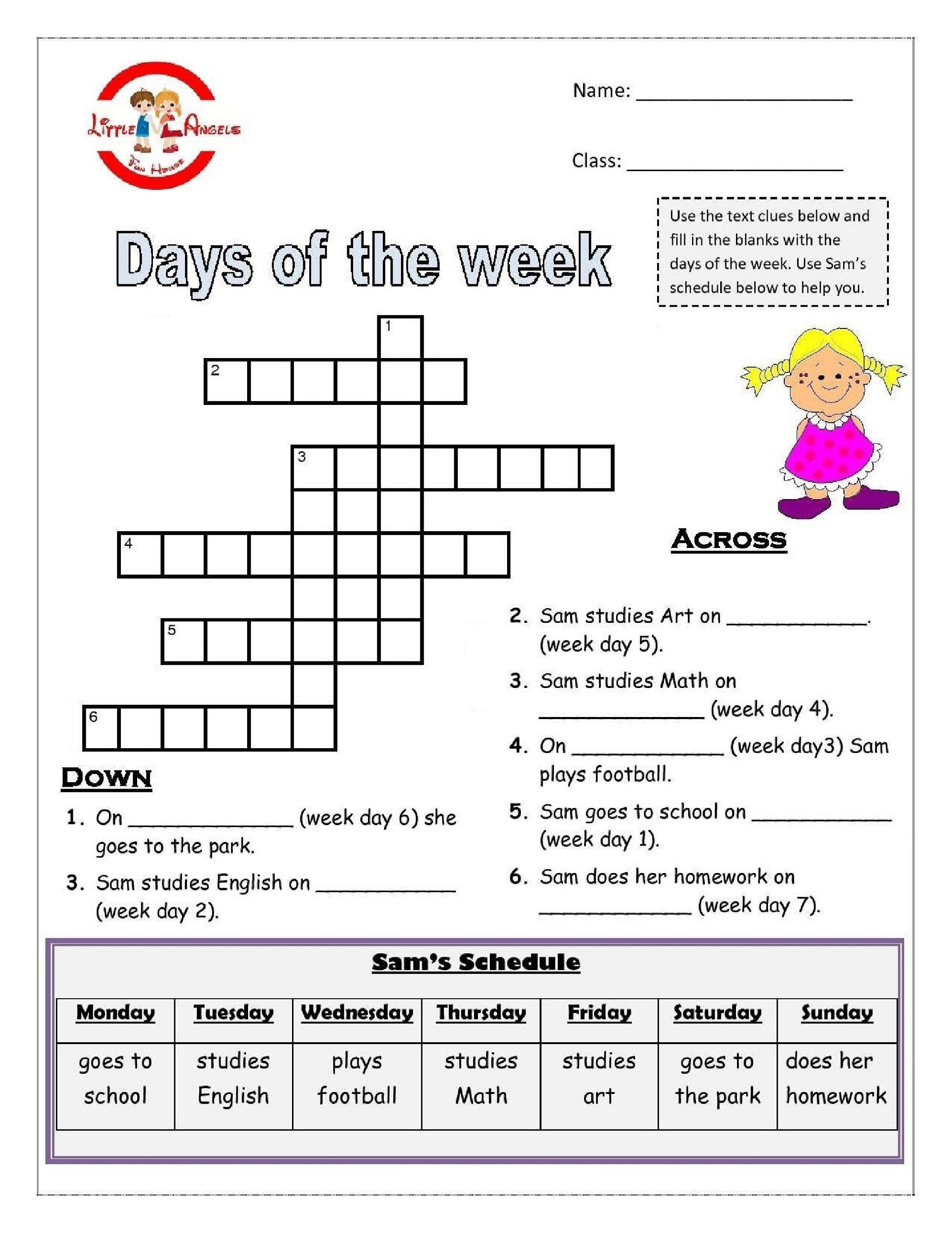 days of the week activities crossword