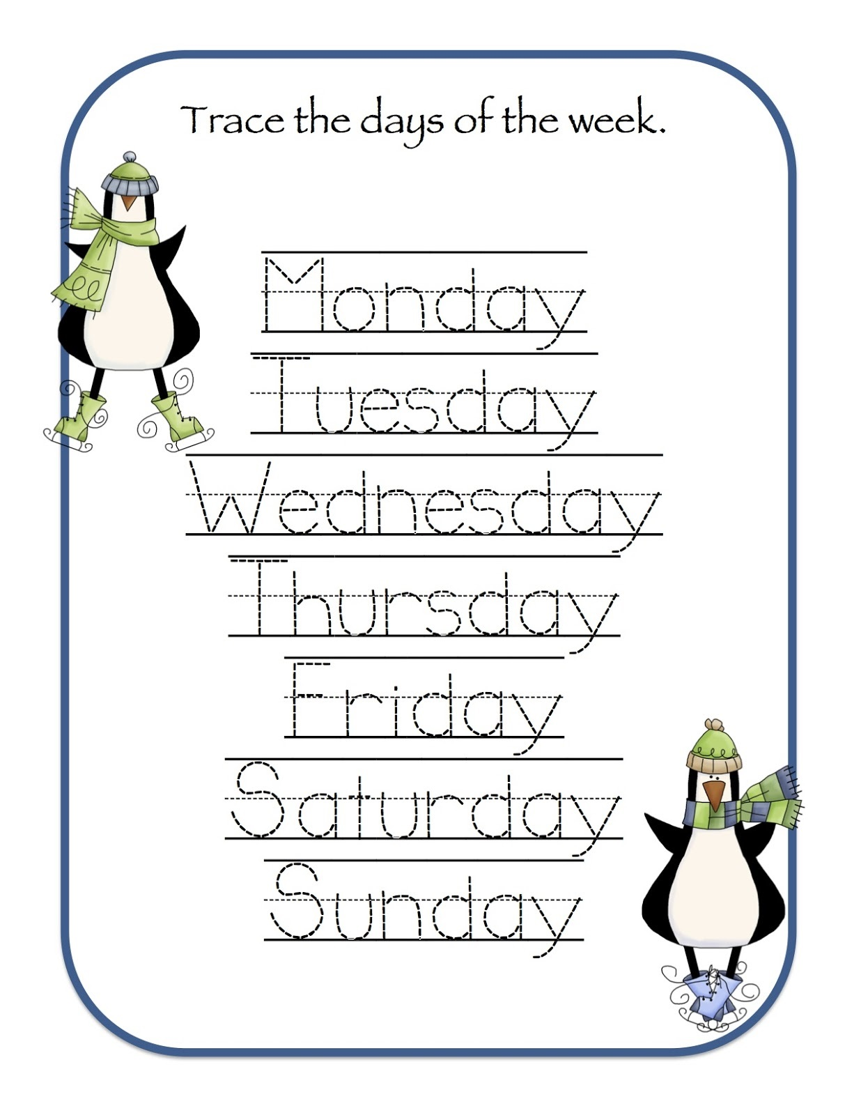 days of the week activities for tracing
