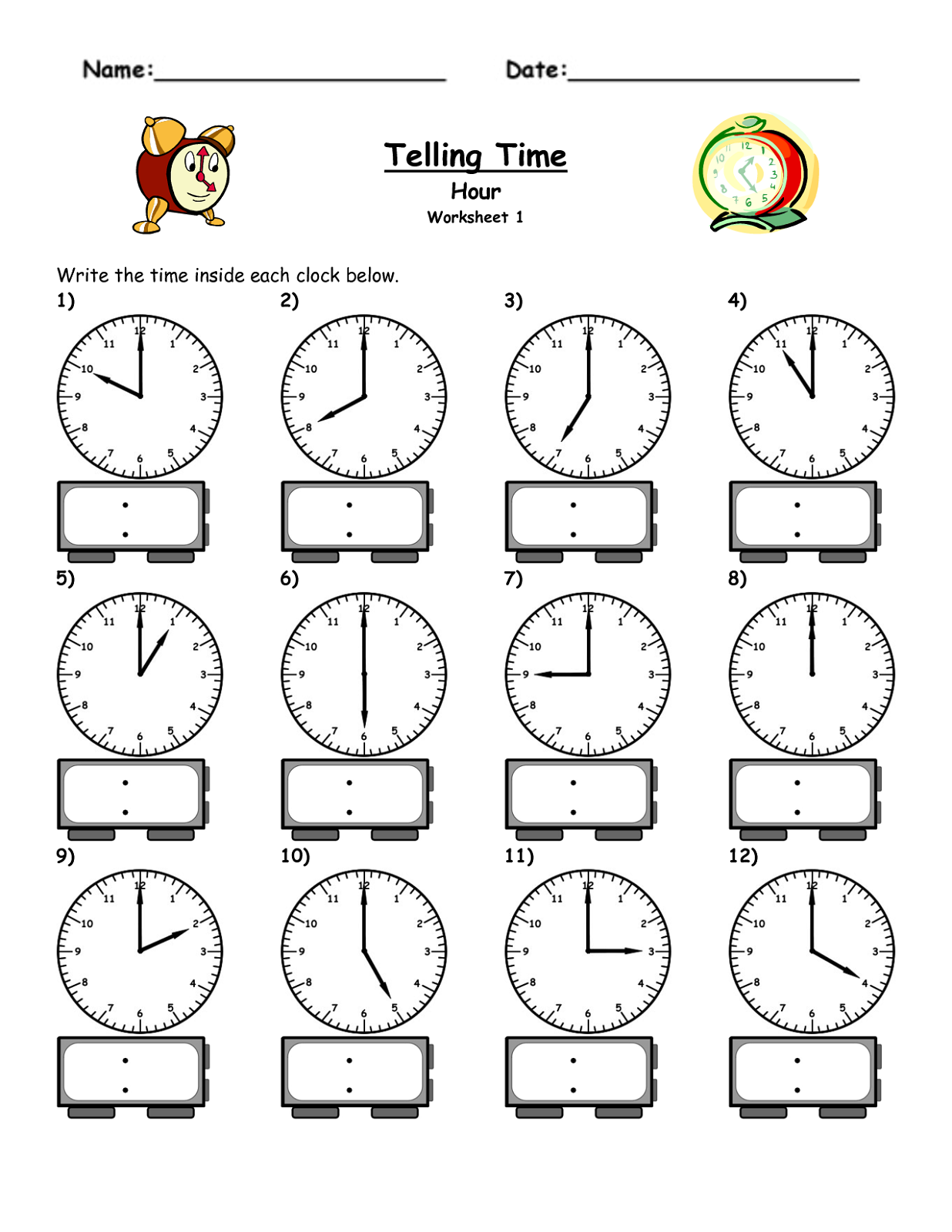 Free Easy Elapsed Time Worksheets – Telling Time to the Hour Worksheet