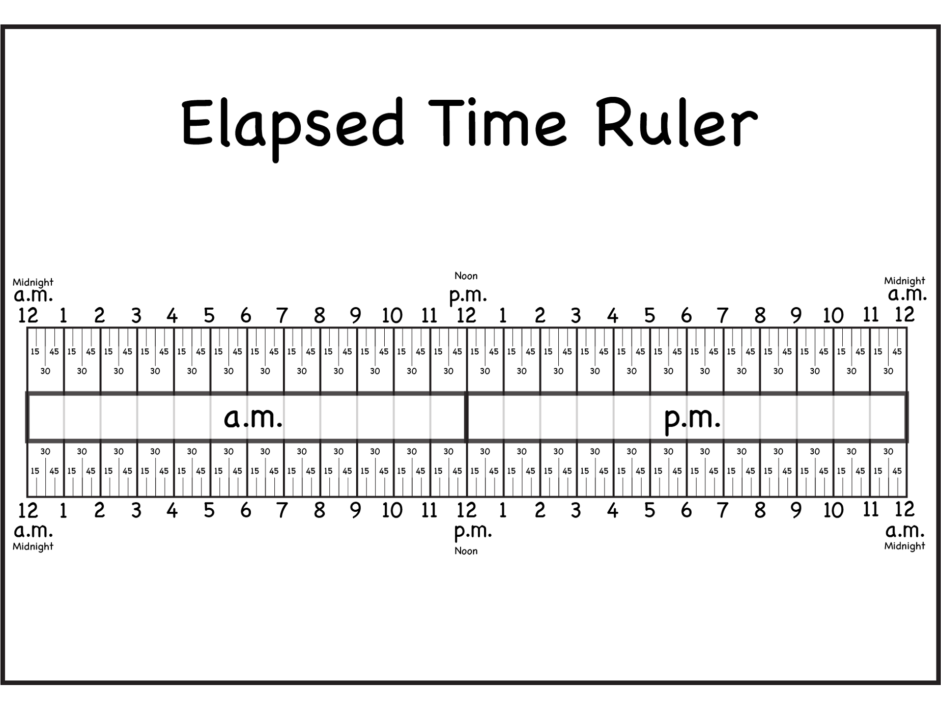 worksheet Elapsed Time printable elapsed time rulers activity shelter printable