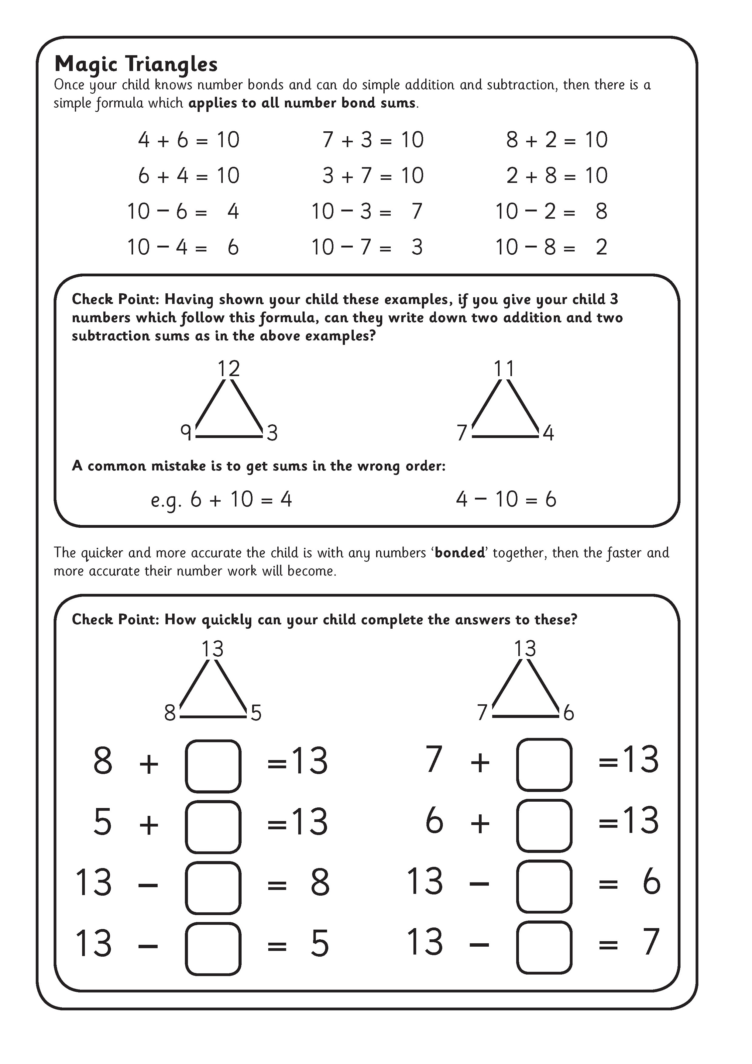 fact triangles worksheet for school