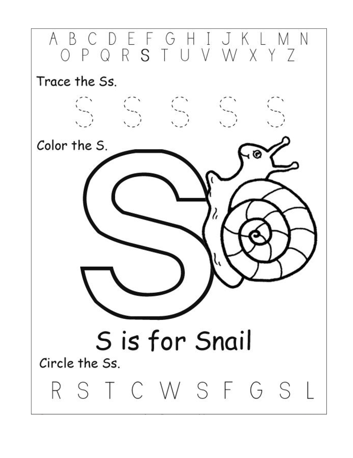 free abc worksheets for pre-k snail