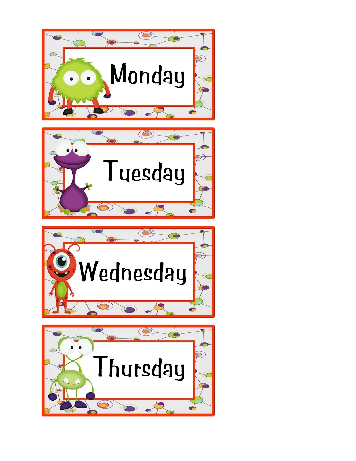 free days of the week worksheet colorful