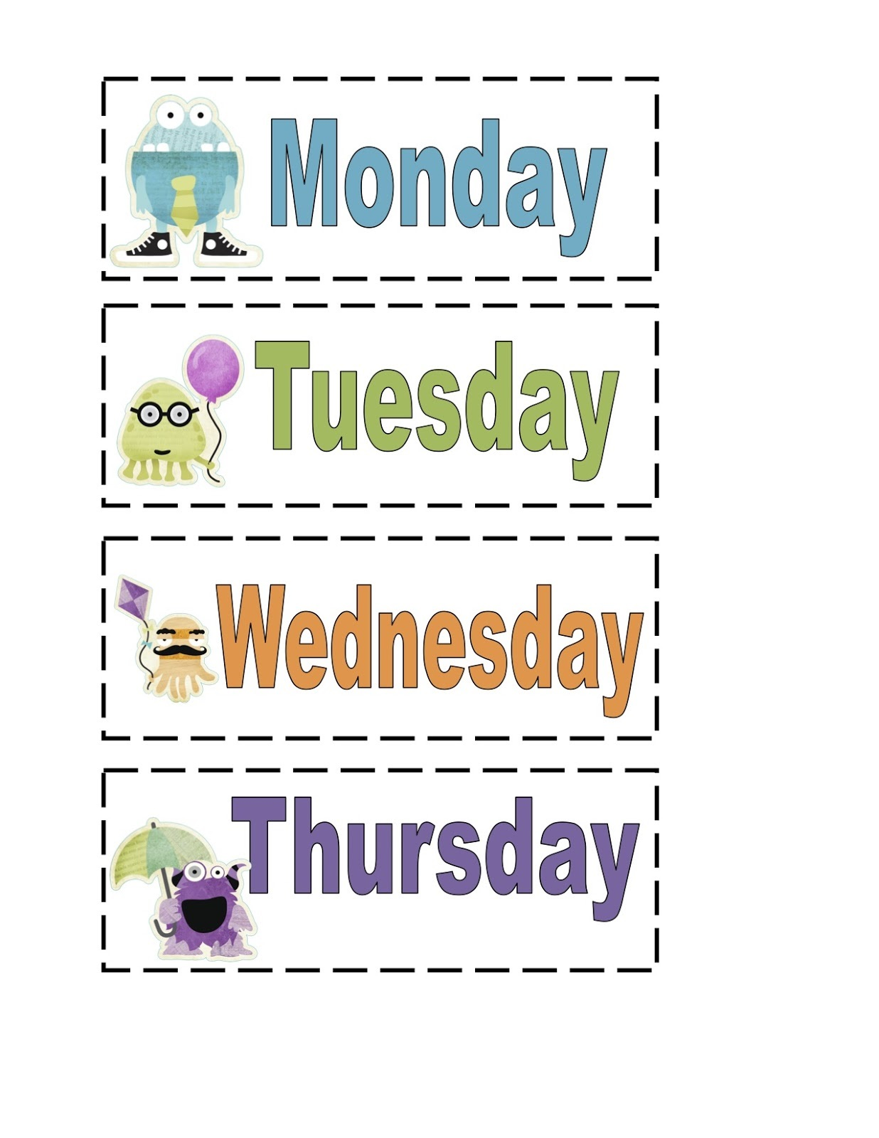 free days of the week worksheet for kids