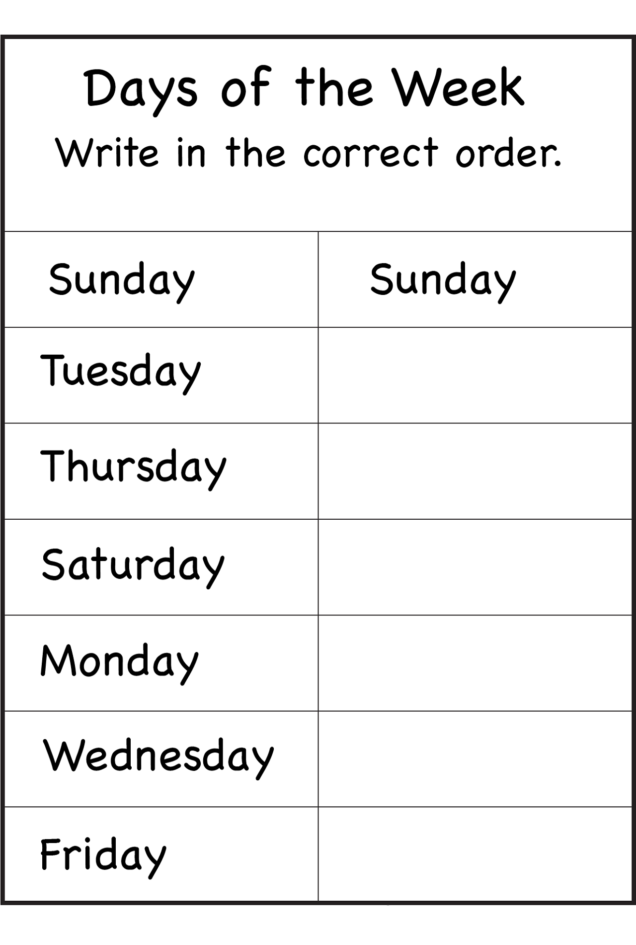free days of the week worksheet order