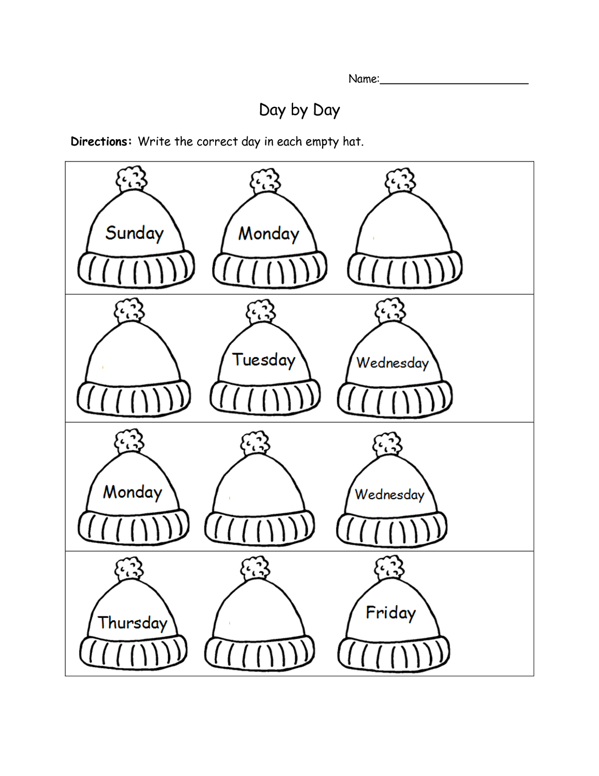 free days of the week worksheet practice