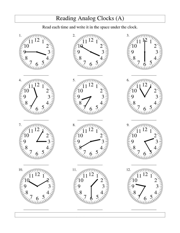 free elapsed time worksheet analog