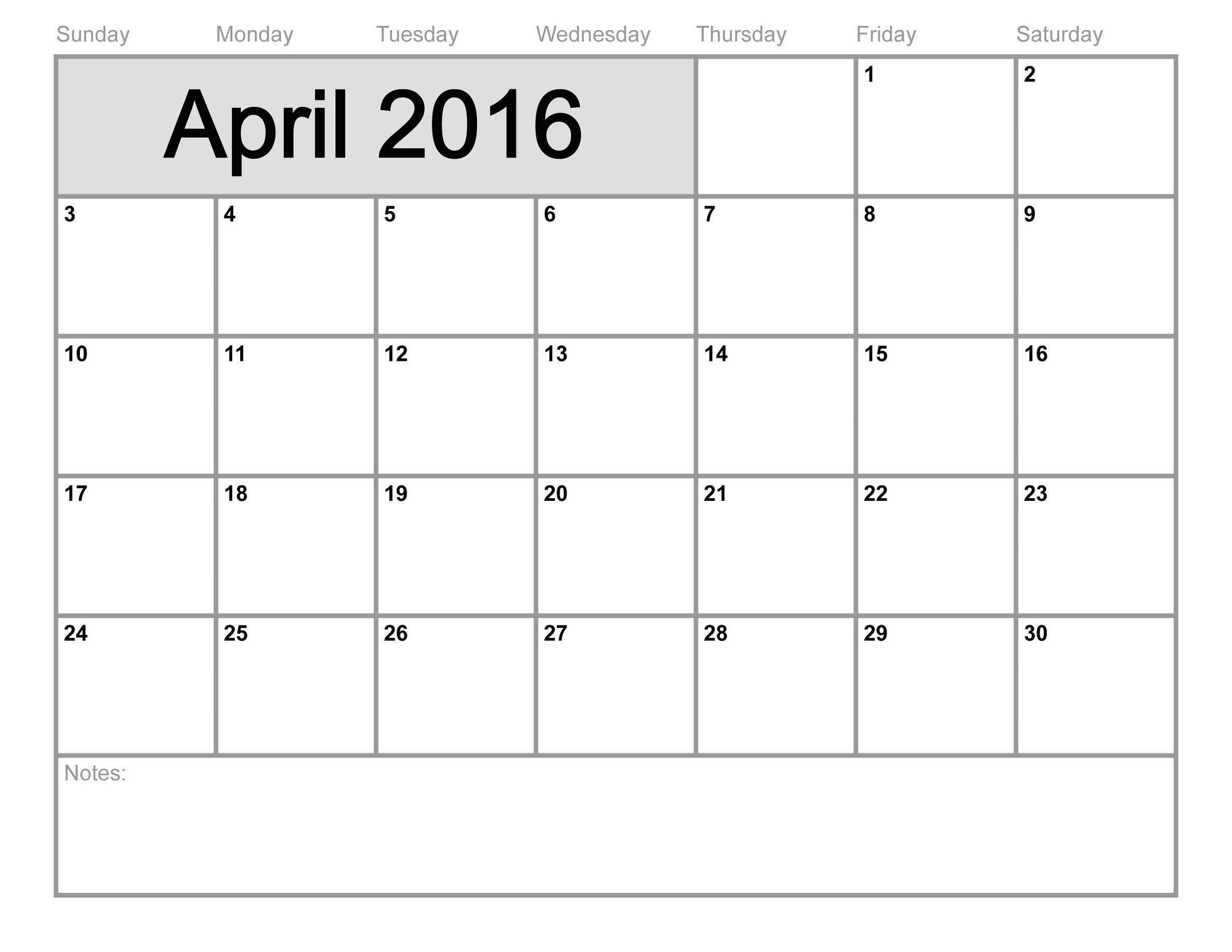 free printable calendar templates for april