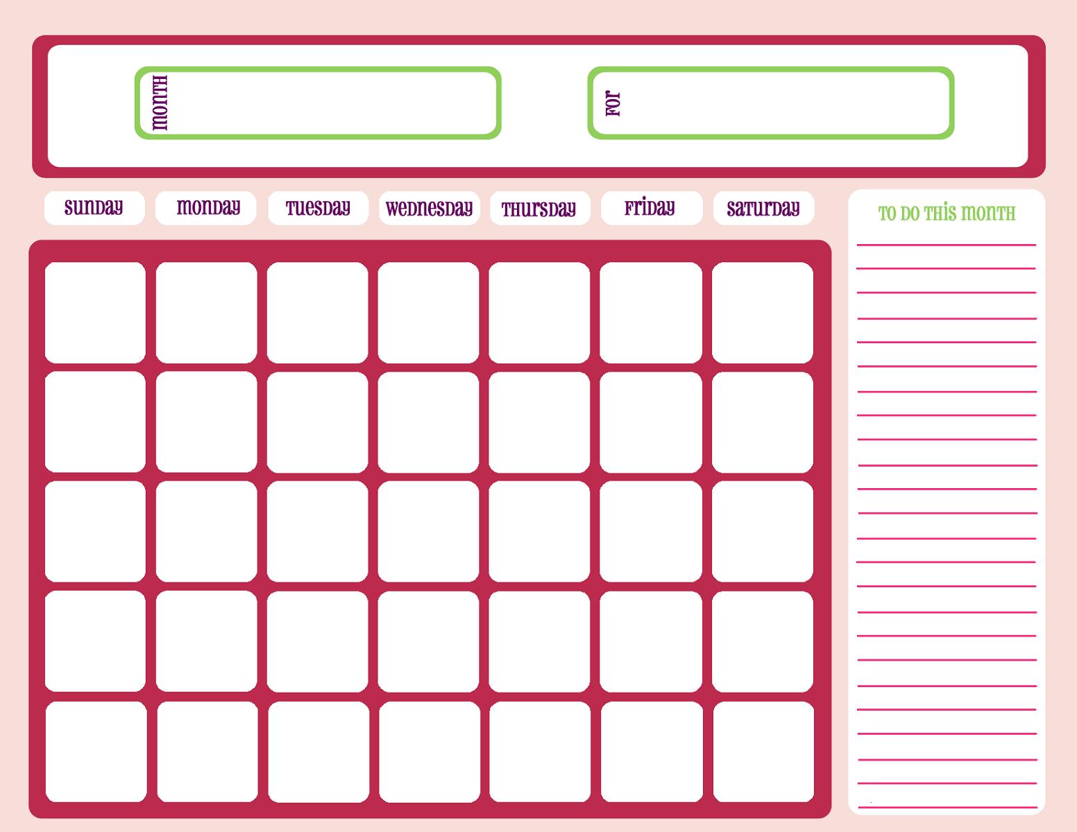 free printable calendar templates pink theme