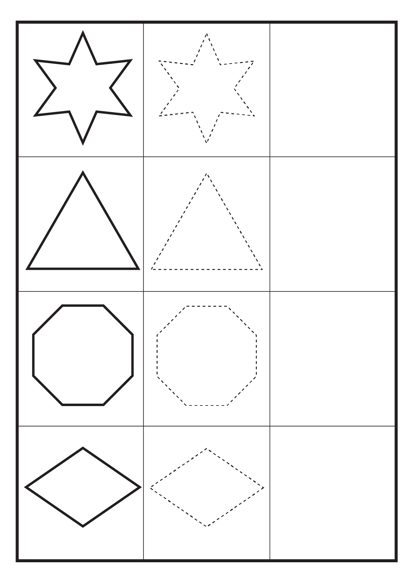 free shapes worksheets for kids