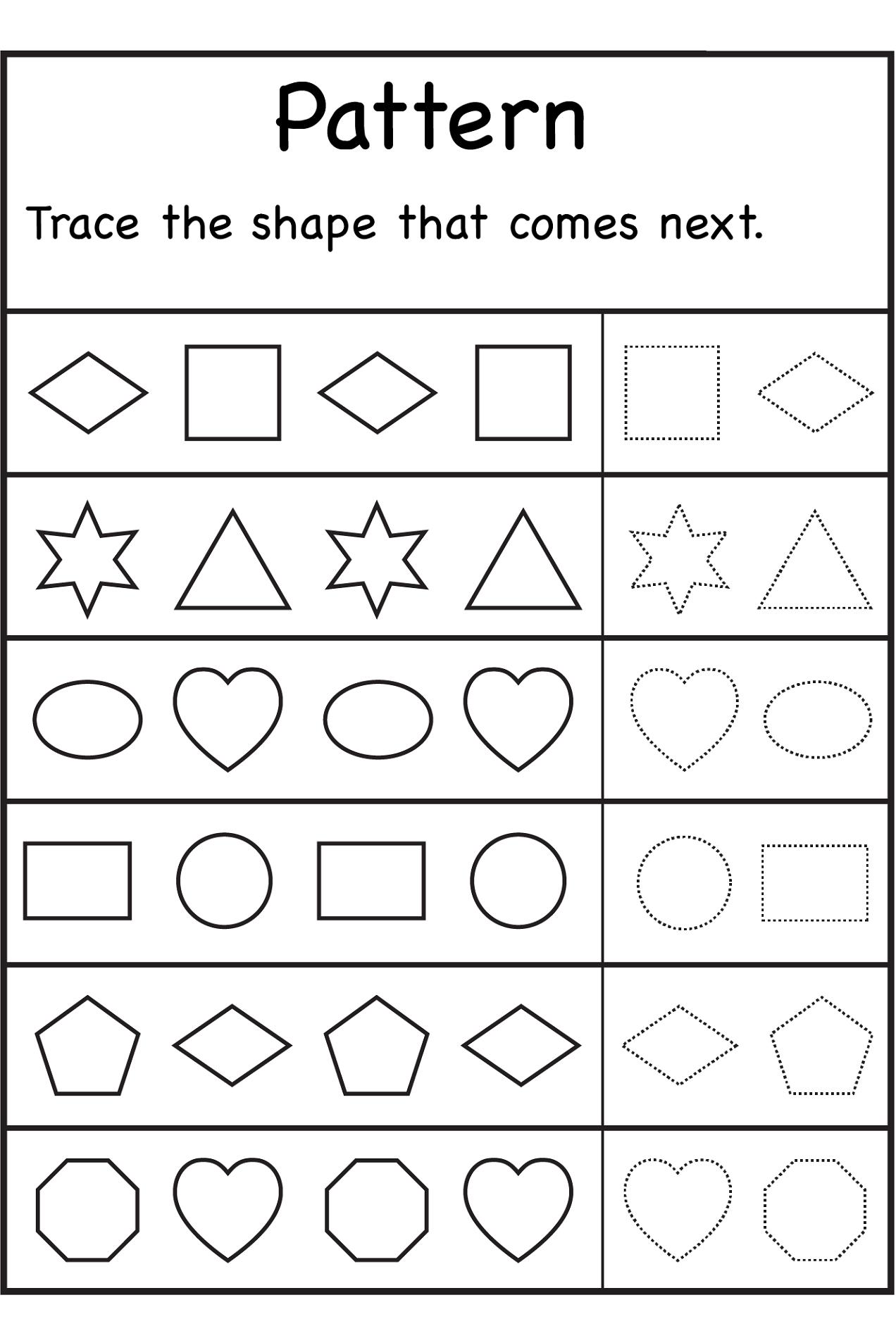 free shapes worksheets patterns