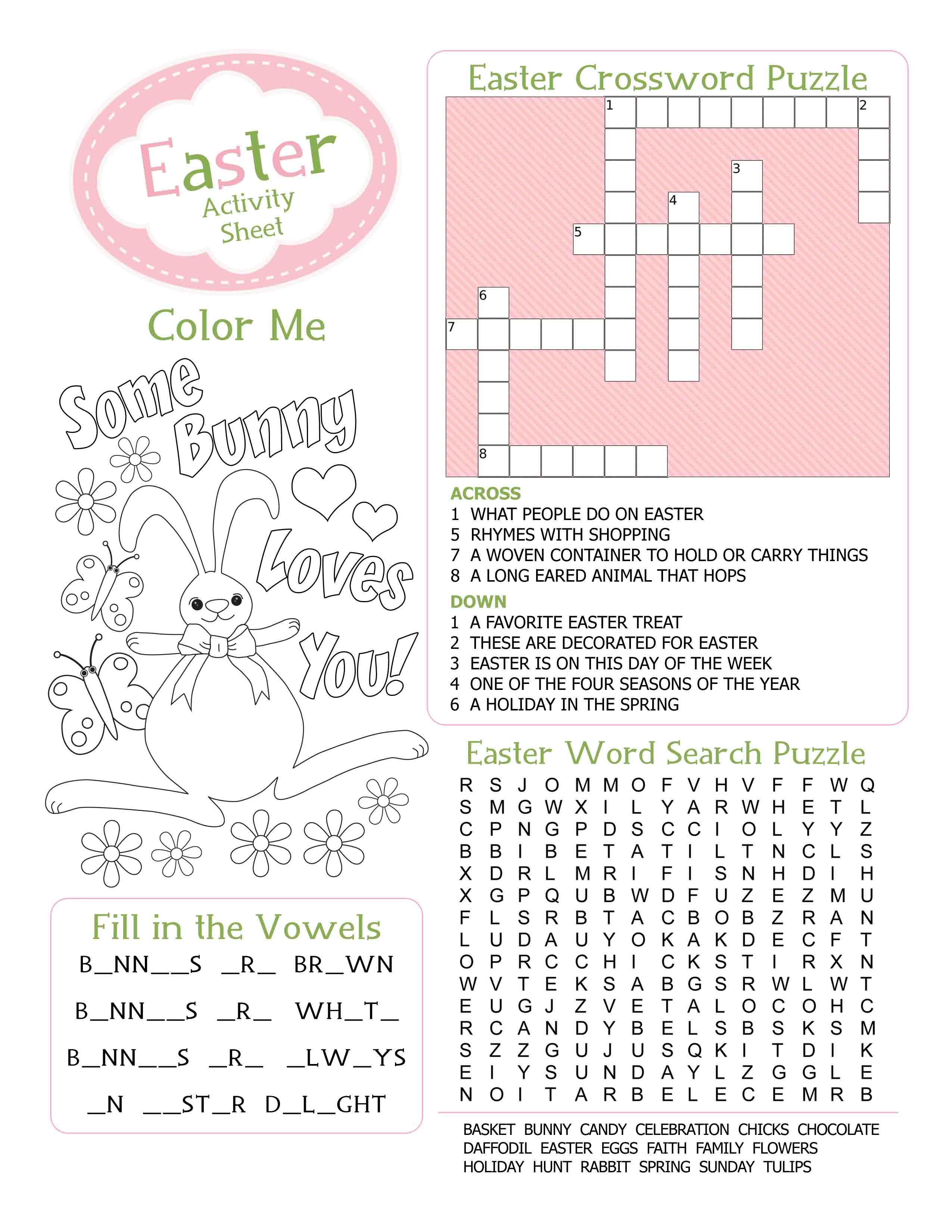 fun kids worksheet crossword