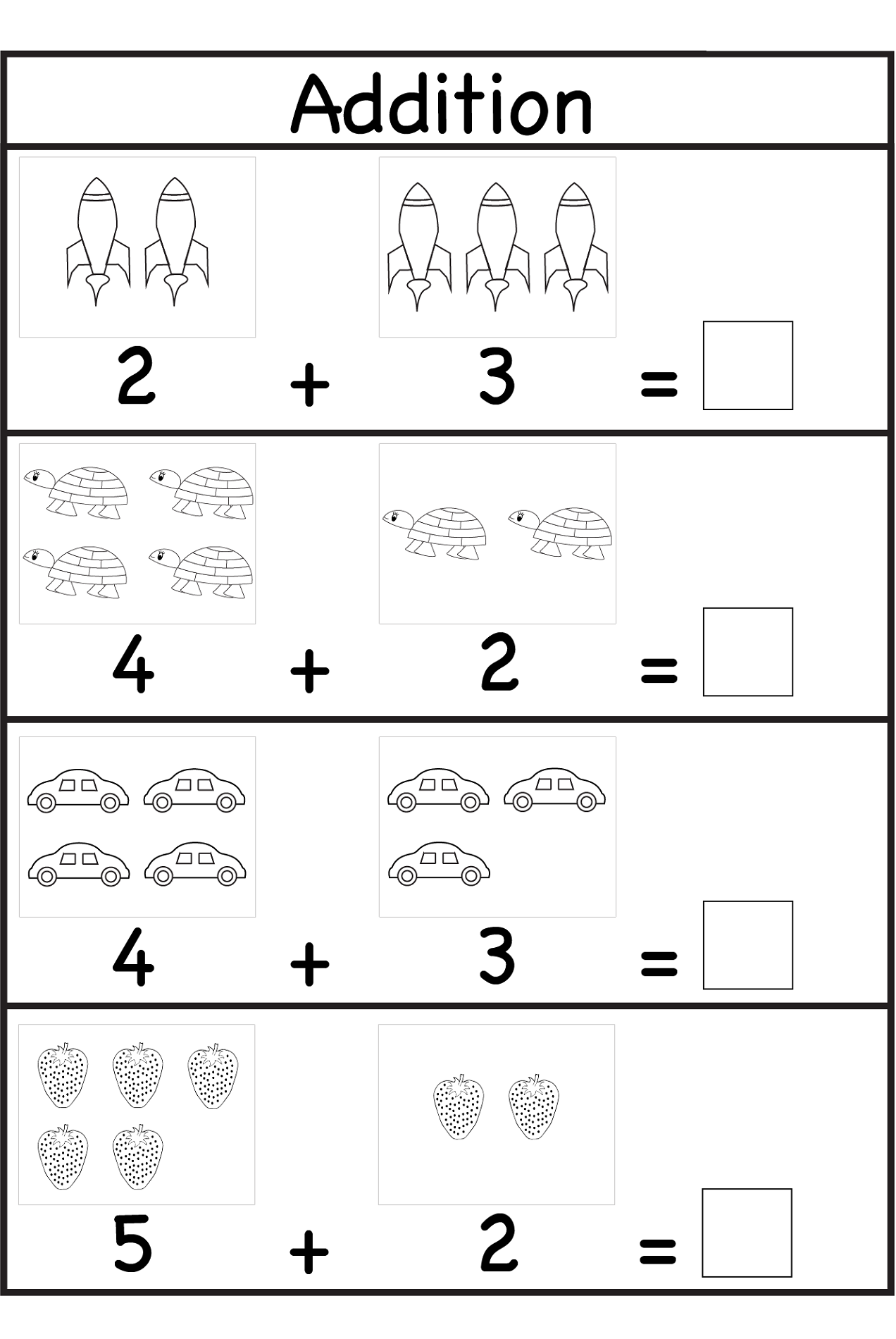 fun sheets for math addition
