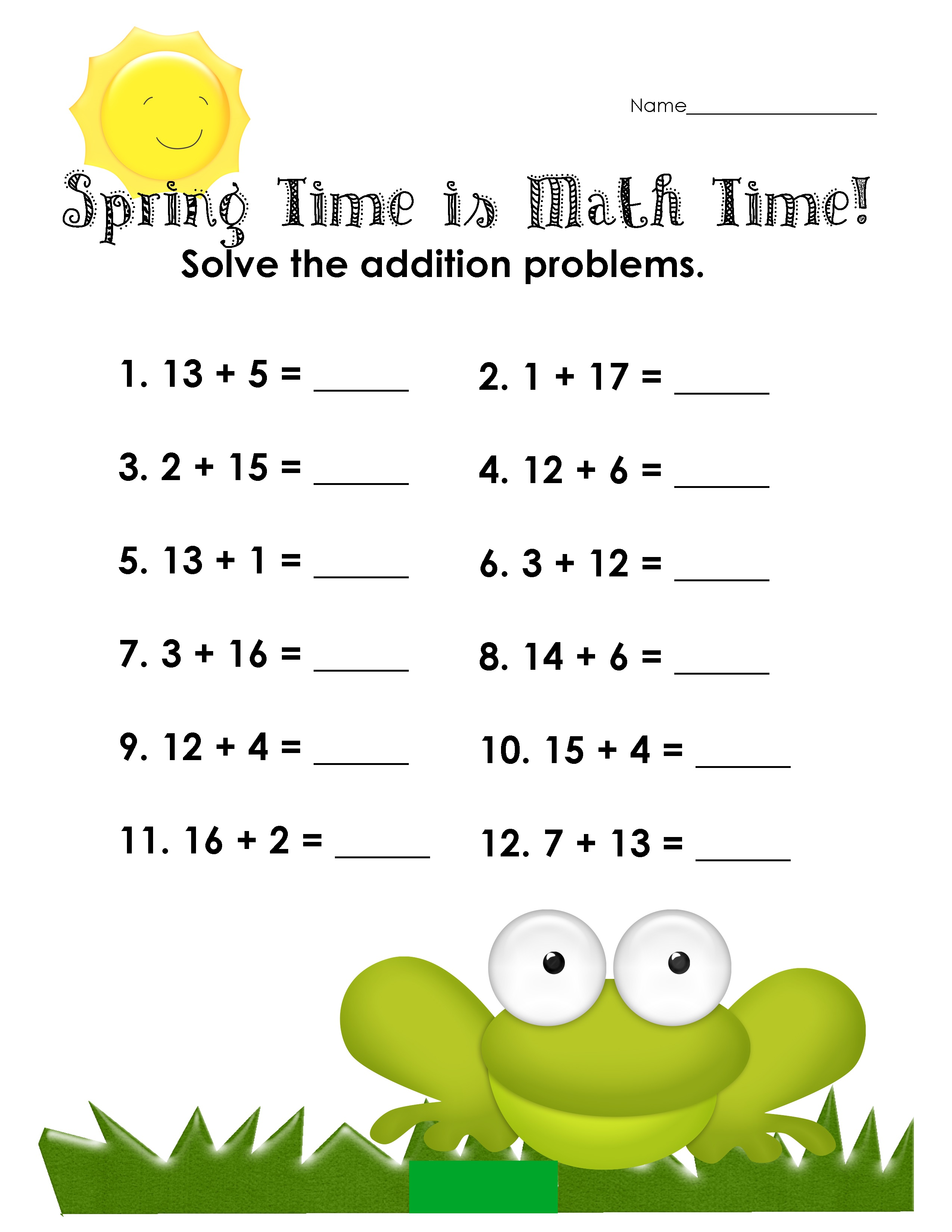 fun sheets for math for kids