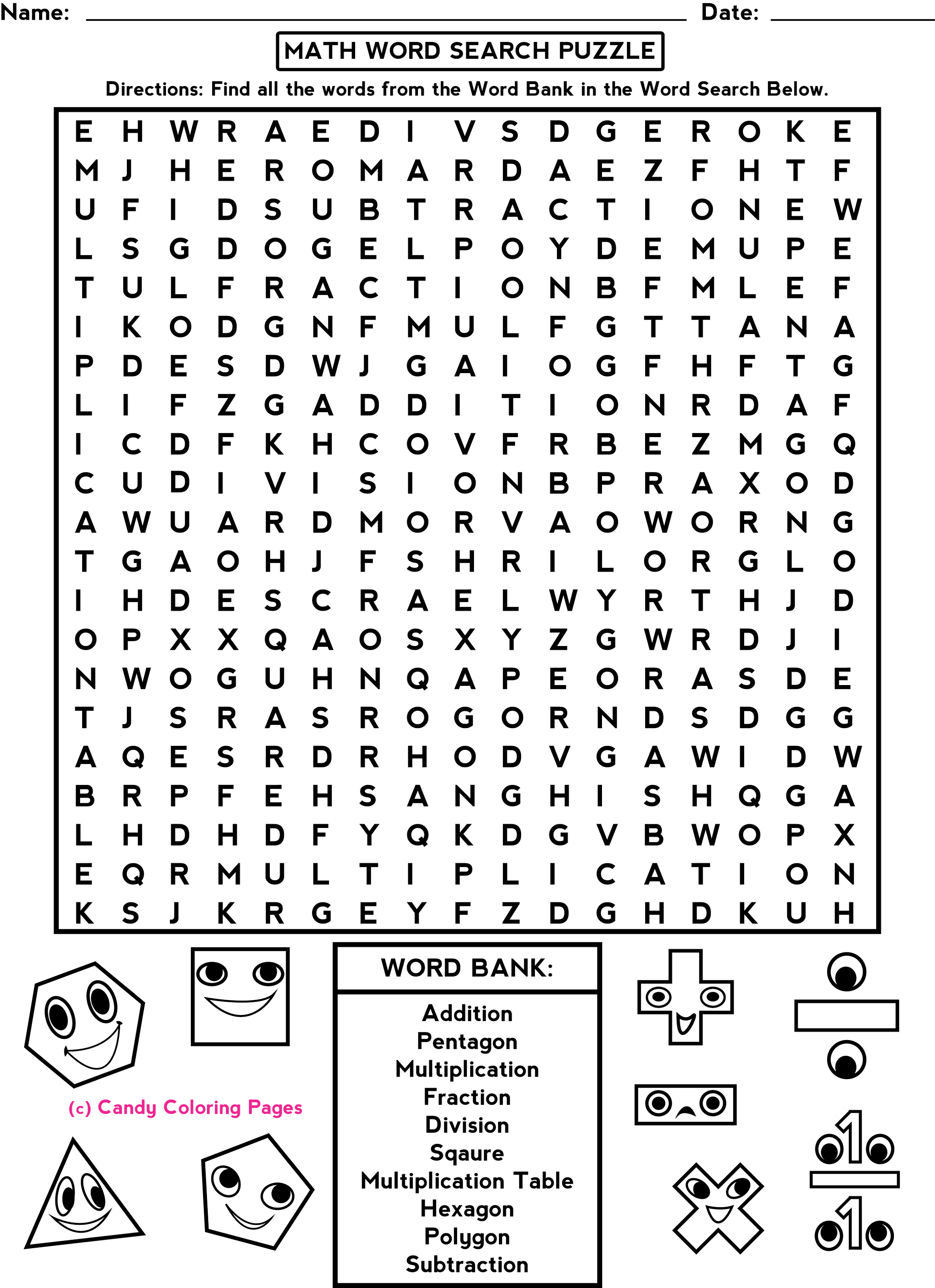 fun sheets for math word search