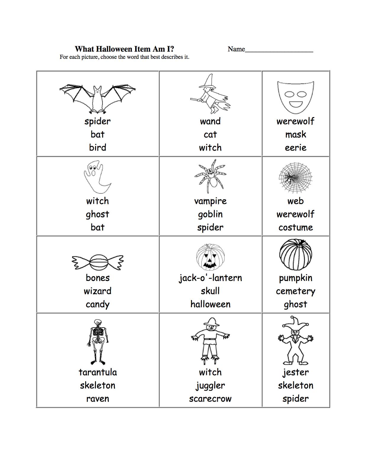 halloween activities for kids words