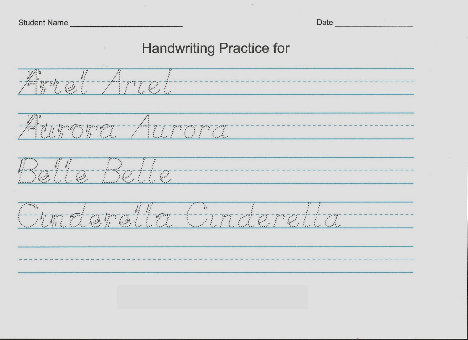 handwriting sheets for tracing