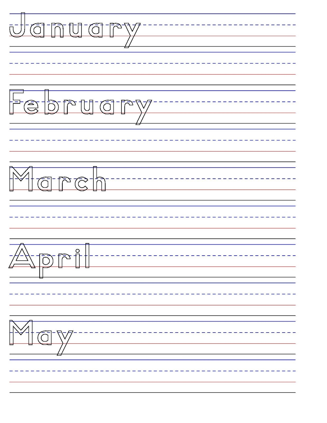 handwriting sheets months