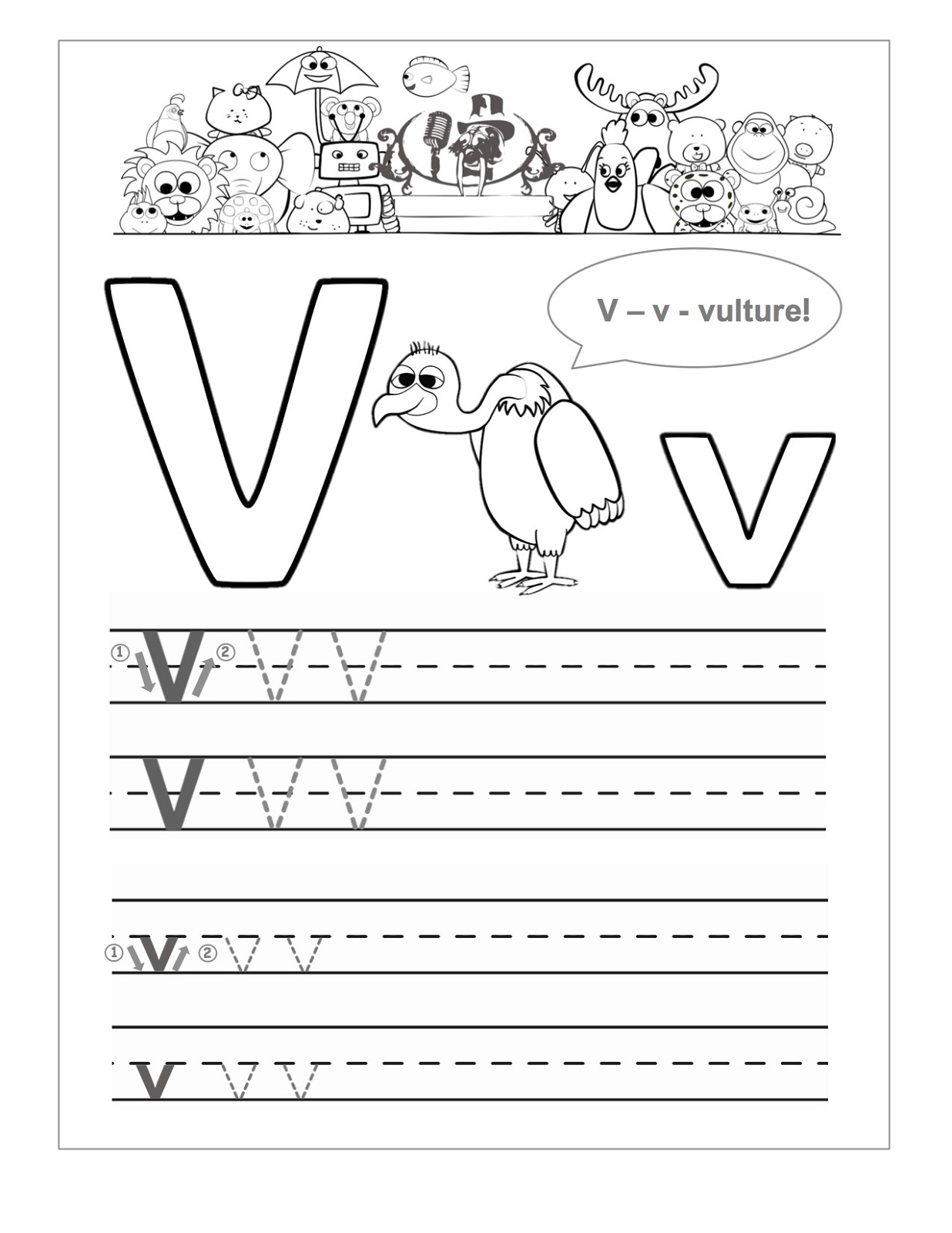 letter v worksheets vulture