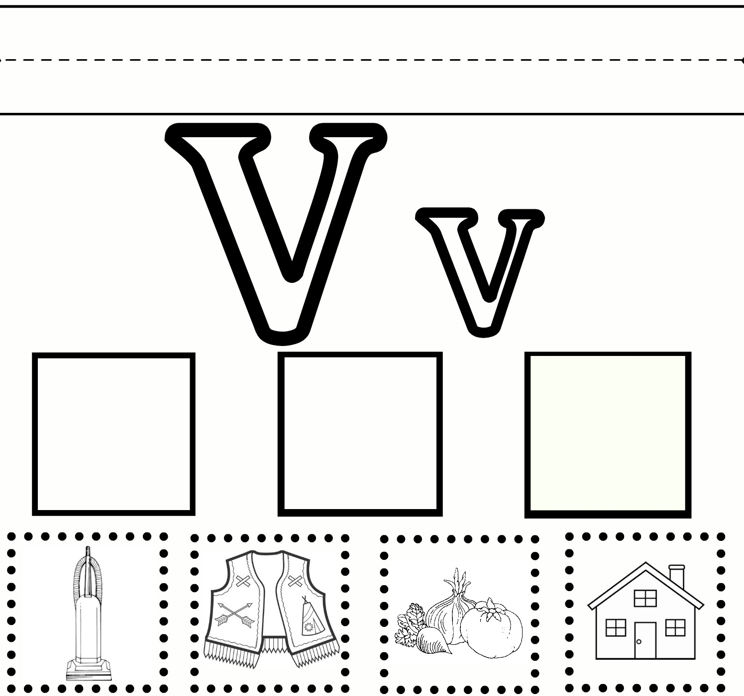 letter v worksheets with pictures