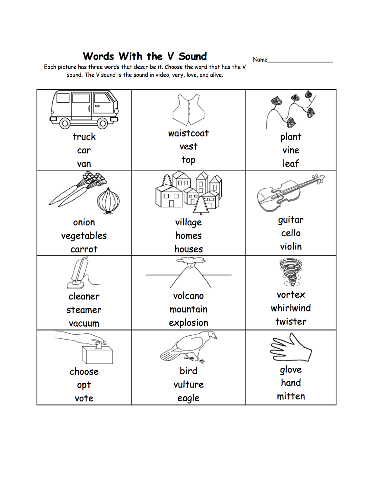 letter v worksheets words
