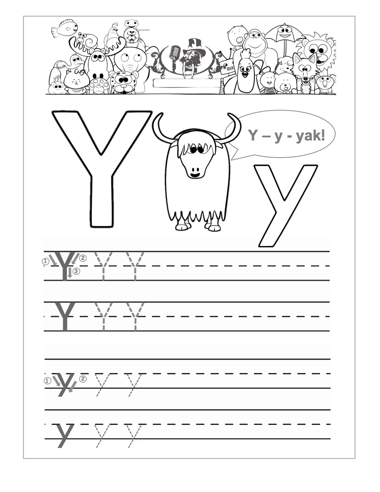 letter y worksheet for kids