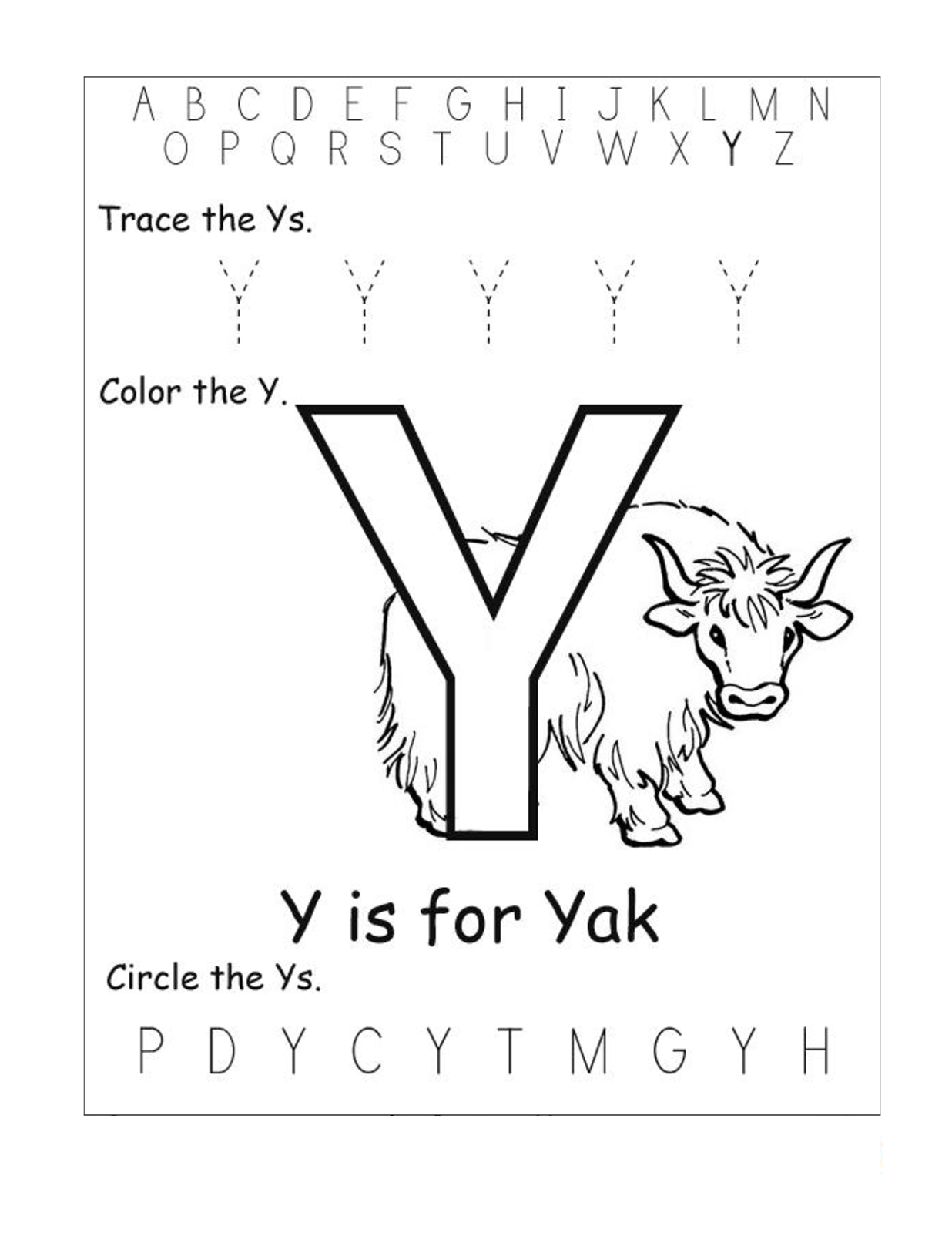 letter y worksheet yak