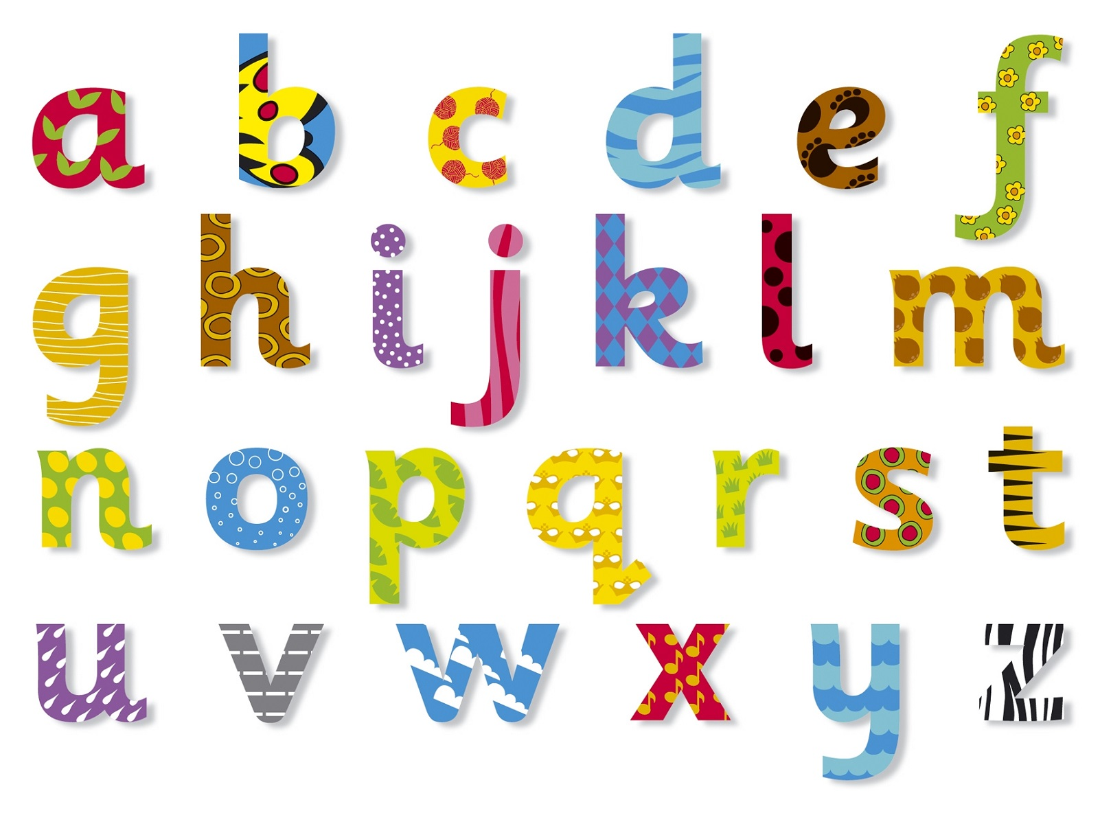 lower case alphabet colorful