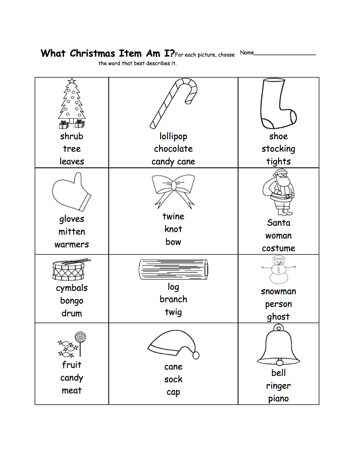math analogies worksheet christmas