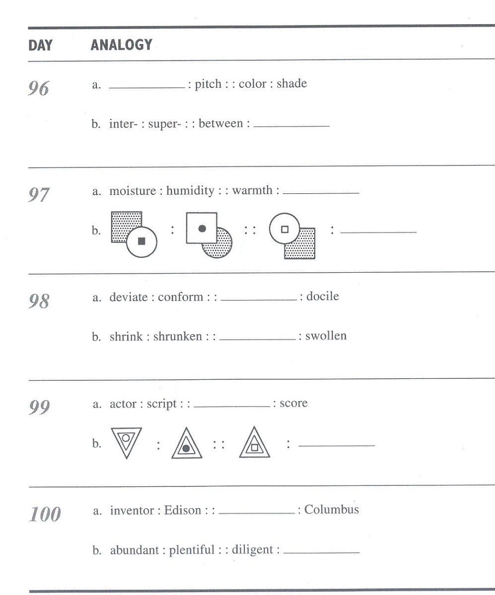 math analogies worksheet for school