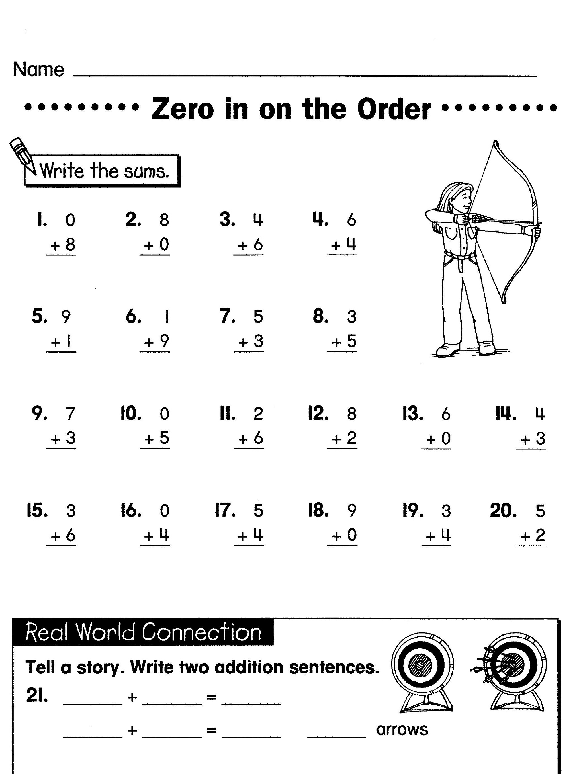 math analogies worksheet order