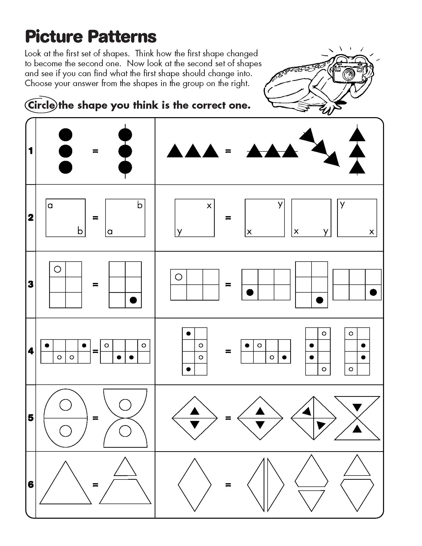 math analogies worksheet pattern