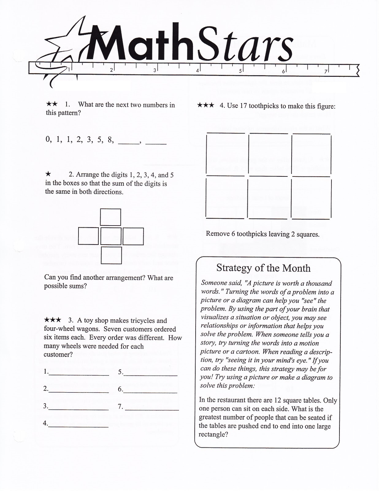 math fun sheet for school