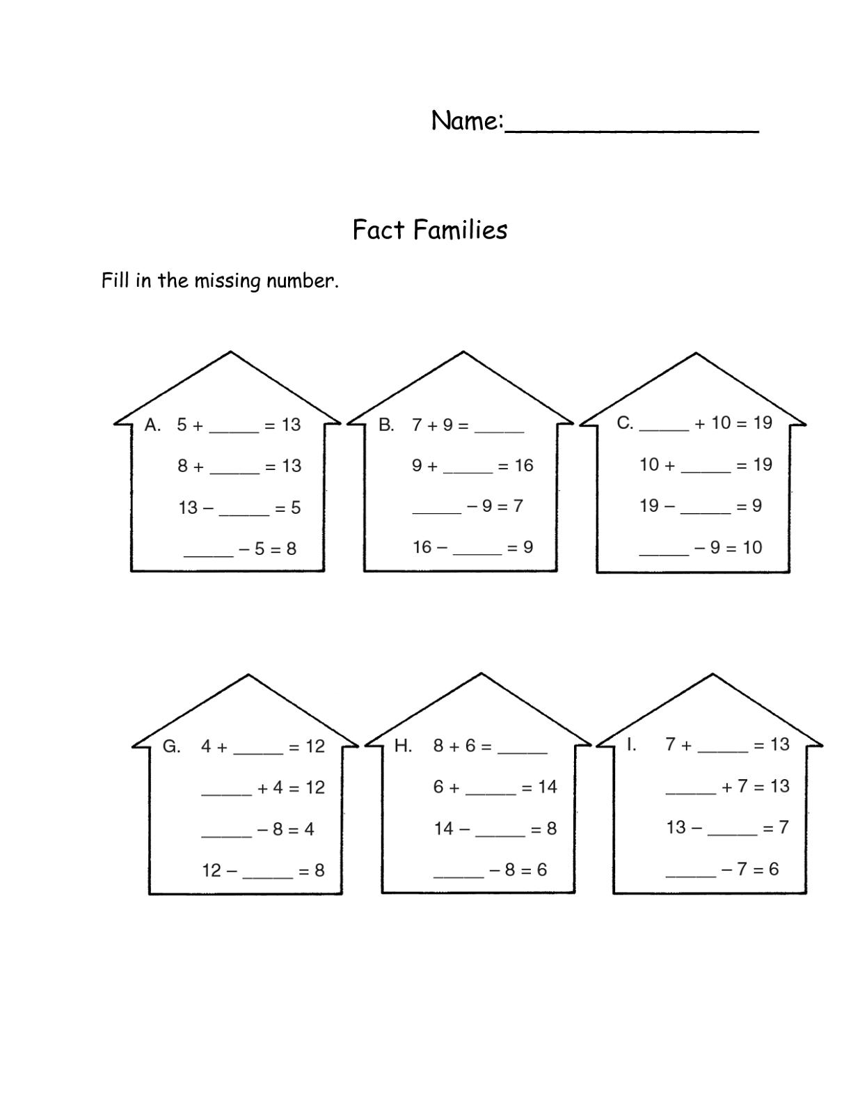 math worksheets fact families printable