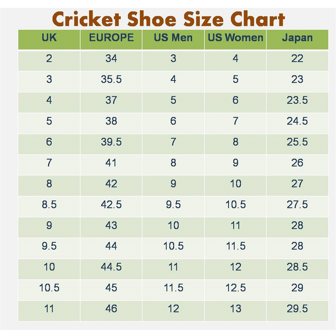 mens shoe size chart cricket