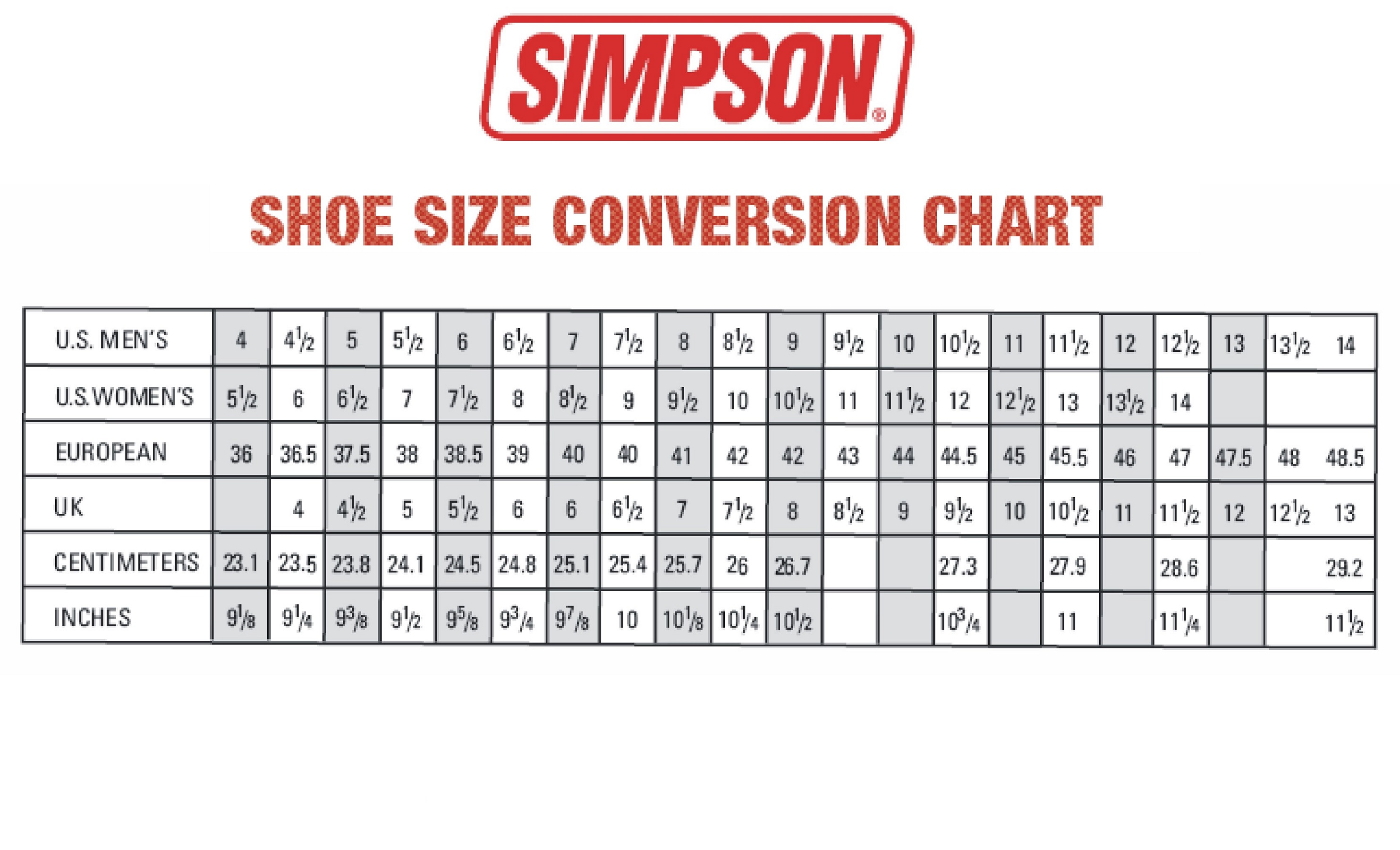 Mens Us Shoe Size Comparison