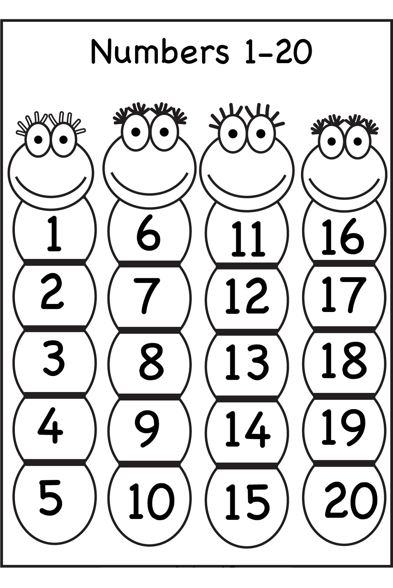number 20 worksheet for kindergarten